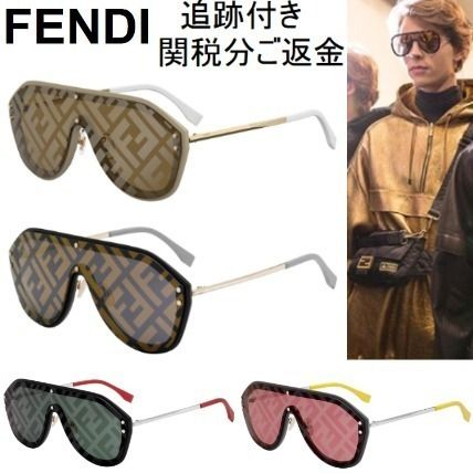 ddef9f41 FENDI 2019 SS Unisex Blended Fabrics Round Sunglasses (FENDI MEN 0039  SHIELD SUNGLASSES)