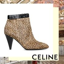 CELINE Leopard Patterns Leather Elegant Style Ankle & Booties Boots