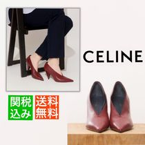 13b68833bbc CELINE Plain Leather Elegant Style Bold Pointed Toe Pumps   Mules