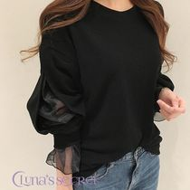 U-Neck Plain Puff Sleeves T-Shirts