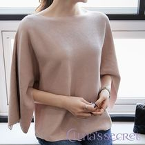 Boat Neck Plain Medium Elegant Style Sweaters