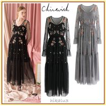 Chicwish Flower Patterns Maxi Long Sleeves Long Party Style Lace