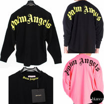 Palm Angels Crew Neck Unisex Street Style Long Sleeves Cotton