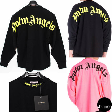 Palm Angels Long Sleeve Crew Neck Unisex Street Style Long Sleeves Cotton