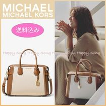 Michael Kors MERCER 2WAY Bi-color Plain Office Style Totes