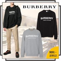 Burberry Crew Neck Pullovers Unisex Street Style Long Sleeves Plain