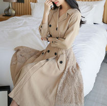 Flower Patterns Plain Long Office Style Trench Coats