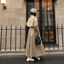 Stand Collar Coats Plain Long Office Style Trench Coats