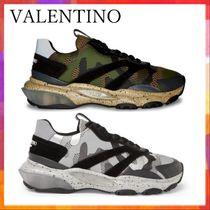 VALENTINO Camouflage Suede Street Style Khaki Sneakers