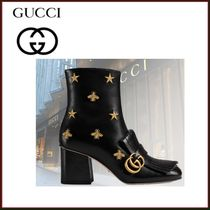 GUCCI Star Leather Fringes Elegant Style Ankle & Booties Boots