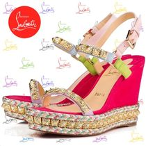 Christian Louboutin Tropical Patterns Open Toe Platform Suede Blended Fabrics