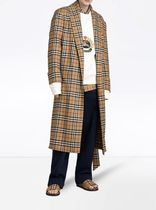 Burberry Other Check Patterns Street Style Long Elegant Style Coats