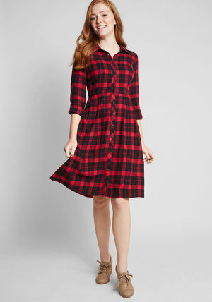Gingham Casual Style Cotton Medium Shirt Dresses Dresses