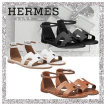 HERMES Open Toe Platform Casual Style Plain Leather