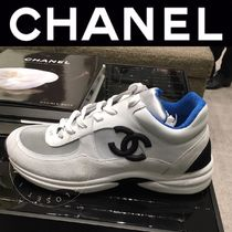 CHANEL SPORTS Plain Toe Rubber Sole Casual Style Unisex Suede