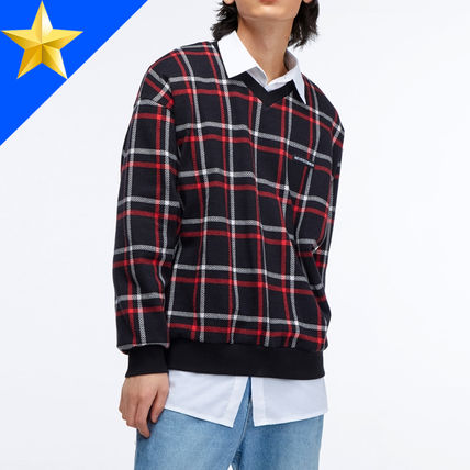 Pullovers Other Check Patterns Unisex Street Style V-Neck