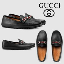 GUCCI Stripes Driving Shoes Leather Loafers & Slip-ons