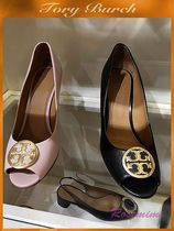 Tory Burch Open Toe Leather Peep Toe Pumps & Mules