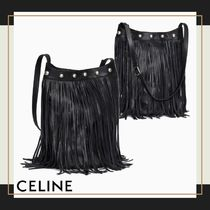 CELINE Lambskin Studded Plain Fringes Messenger & Shoulder Bags