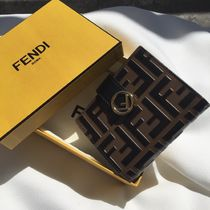 FENDI KAN I Plain Leather Folding Wallets