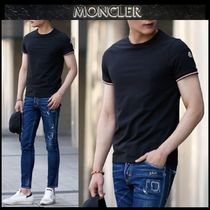 MONCLER Crew Neck Street Style Plain Cotton Short Sleeves
