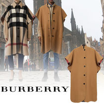 Burberry Wool Plain Long Ponchos & Capes