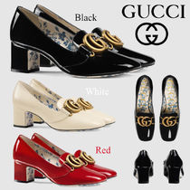 GUCCI Round Toe Plain Leather Block Heels Office Style