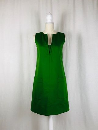 A-line Sleeveless V-Neck Plain Cotton Medium Elegant Style
