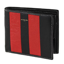 BALENCIAGA Stripes Leather Folding Wallets