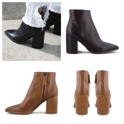 Plain Leather Block Heels High Heel Boots