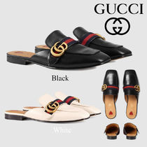 GUCCI Square Toe Casual Style Plain Leather Block Heels Slippers