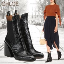 Chloe Plain Toe Leather Block Heels Elegant Style High Heel Boots