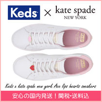 kate spade new york Round Toe Rubber Sole Casual Style Plain Leather