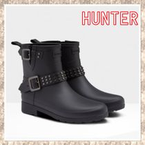 HUNTER Rubber Sole Unisex Studded Plain Flat Boots