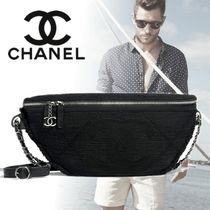 CHANEL Unisex Blended Fabrics Street Style 2WAY Leather Belt Bags