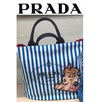 PRADA CANAPA Stripes Casual Style 2WAY Totes