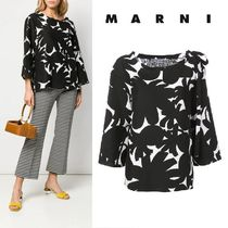 MARNI Flower Patterns Casual Style Linen Cropped Medium Oversized