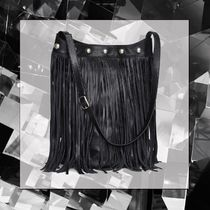 CELINE Studded Street Style Plain Leather Fringes Totes