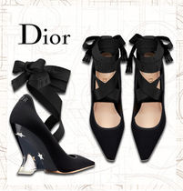 Christian Dior Star Plain Elegant Style Wedge Pumps & Mules