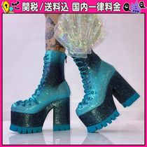 DOLLS KILL Platform Round Toe Lace-up Casual Style Lace-up Boots