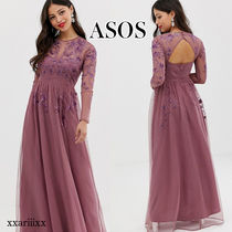 ASOS Flower Patterns Maxi Long Sleeves Plain Long Party Style