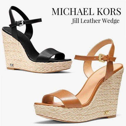 c2d1907df84e ... Sandals 7 Michael Kors Platform   Wedge Open Toe Casual Style Plain  Leather Platform   Wedge ...