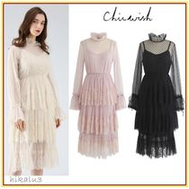 Chicwish Dots Flared Long Sleeves Medium Party Style Lace Dresses