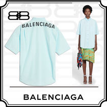 BALENCIAGA Casual Style Plain Cotton Medium Short Sleeves