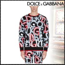 Dolce & Gabbana Crew Neck Pullovers Long Sleeves Cotton Sweatshirts