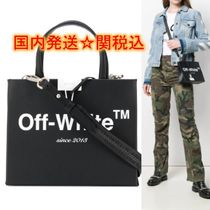 Off-White BINDER CLIP Casual Style Calfskin Street Style 2WAY Plain Shoulder Bags