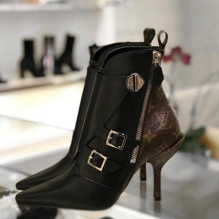 Louis Vuitton Ankle & Booties Monogram Blended Fabrics Bi-color Leather Pin Heels