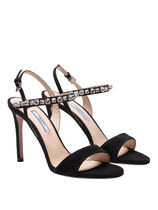 PRADA Open Toe Plain Leather Pin Heels With Jewels Heeled Sandals