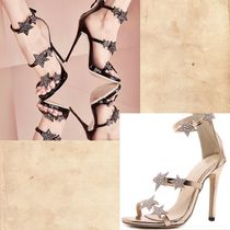 Star Open Toe Casual Style Pin Heels With Jewels