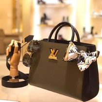 Louis Vuitton TWIST Blended Fabrics A4 2WAY Plain Leather Elegant Style Totes